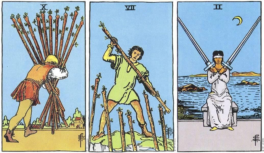 Двойка мечей: общий смысл аркана, значение в раскладах на работу, любовь, ситуацию