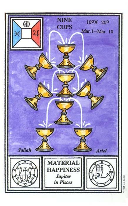 Девятка кубков (9 кубков) - младший аркан карт таро - значение всех 78 карт таро и их сочетаний комбинаций с другими картами таро - magic-school — форум магии, гаданий и предсказаний