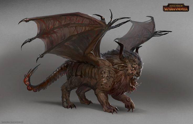Существо с головой льва и хвостом скорпиона. мантикора — легендарное и непобедимое чудовище-людоед