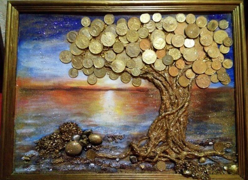 Как сделать денежное дерево своими руками: из монет, купюр, бисера, вышивка картин