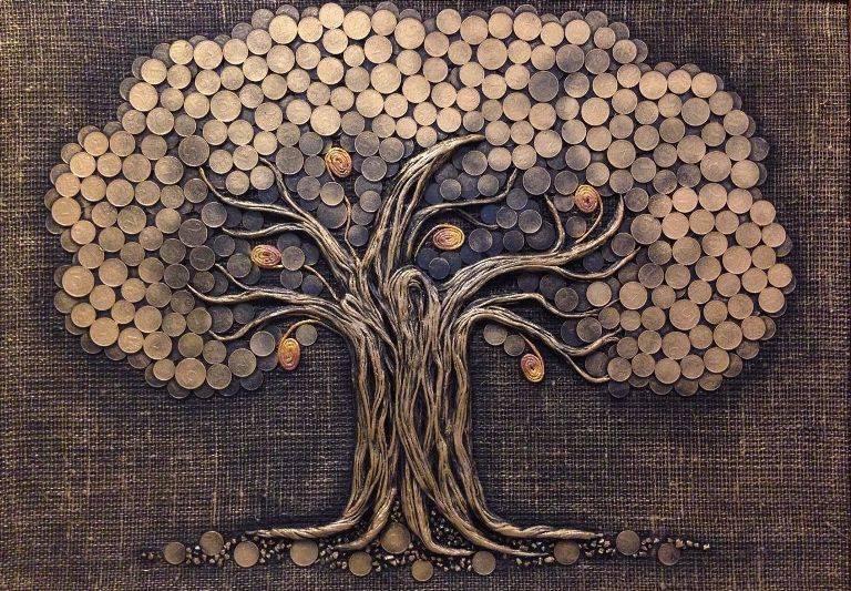 Денежное дерево своими руками из монет, бисера, купюр пошагово