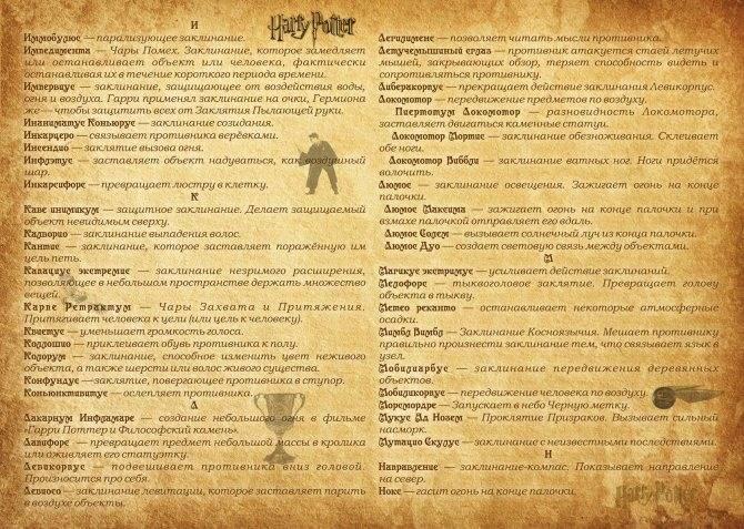 """Список магических заклинаний из """"гарри поттера""""  ???? кино"""