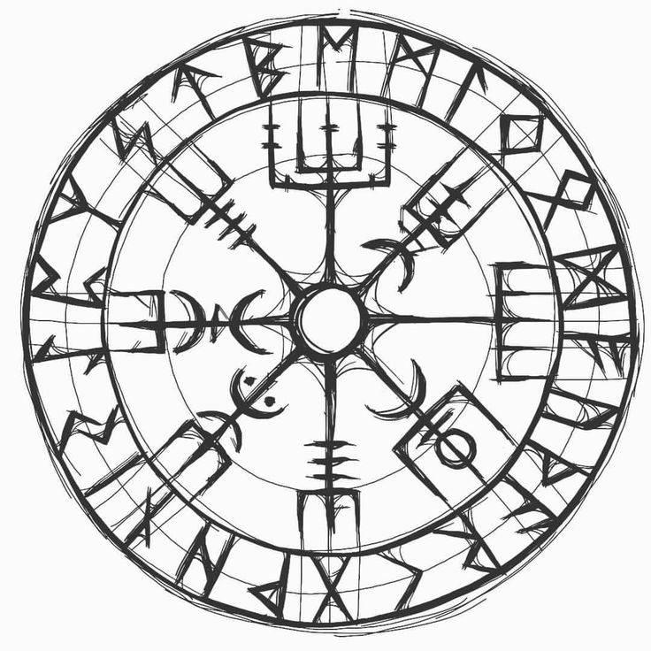 Тату «вегвизир»: значение рунического компаса викингов, скандинавского и славянского, для мужчин и женщин, эскизы тату на спине, плече и других зонах