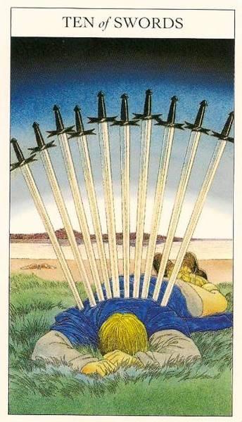 Десятка мечей таро в раскладах — значение и толкование