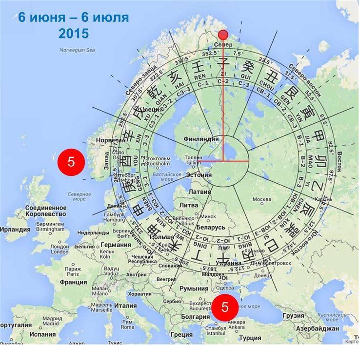 Запад, восток, север, юг на карте