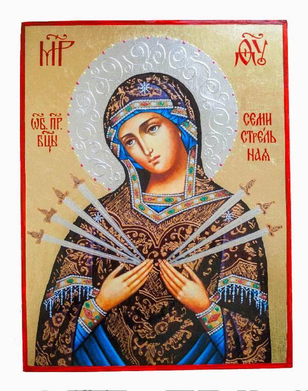 Значение иконы богородицы семистрельная и в чем помогает, где нужно вешать образ
