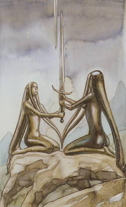 2 мечей таро (двойка клинков) в сочетание с дргими картами и значение при гадании