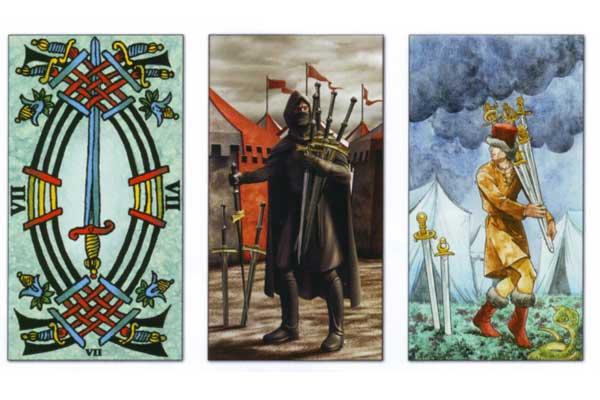 7 мечей: значение карты таро в общих раскладах и на любовь, сочетании с другими арканами