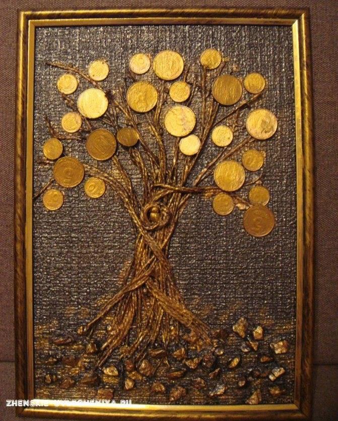 Панно «денежное дерево» (34 фото): из монет и денег, в технике декупаж и другие. как сделать своими руками на стену? красивые примеры