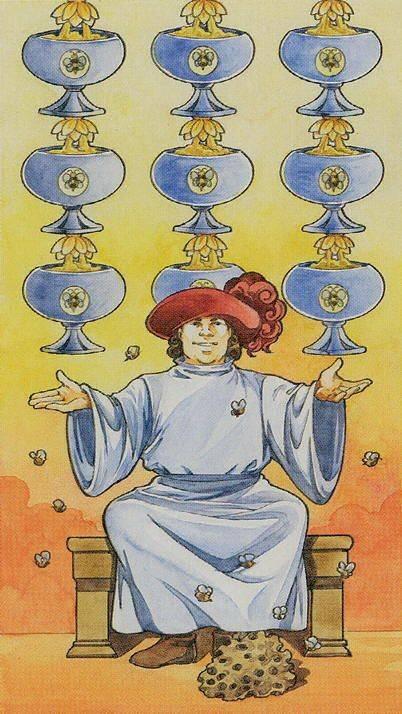 Девятка кубков (чаш) - толкование и значение карты таро