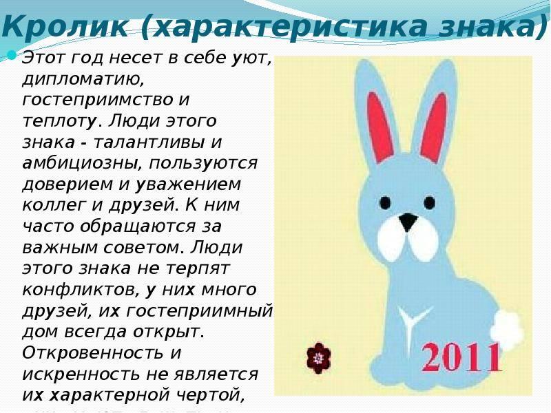 Женщина кот (кролик) – характеристика года рождения