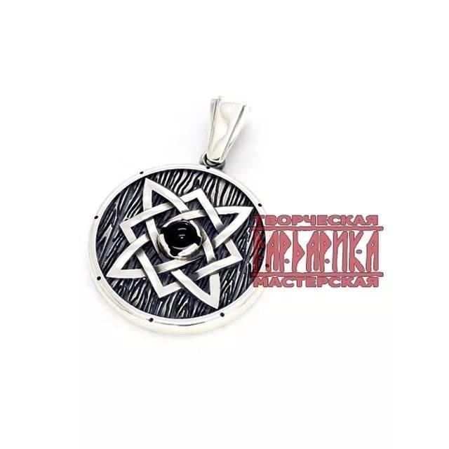 Оберег звезда руси (квадрат сварога) в круге сва — серебро (2.9 см.)