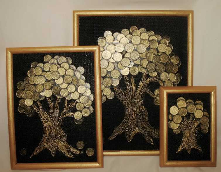 Картина «денежное дерево» из монет своими руками (18 фото): мастер-класс панно из монеток пошагово