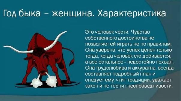 Женщина бык – характеристика года рождения