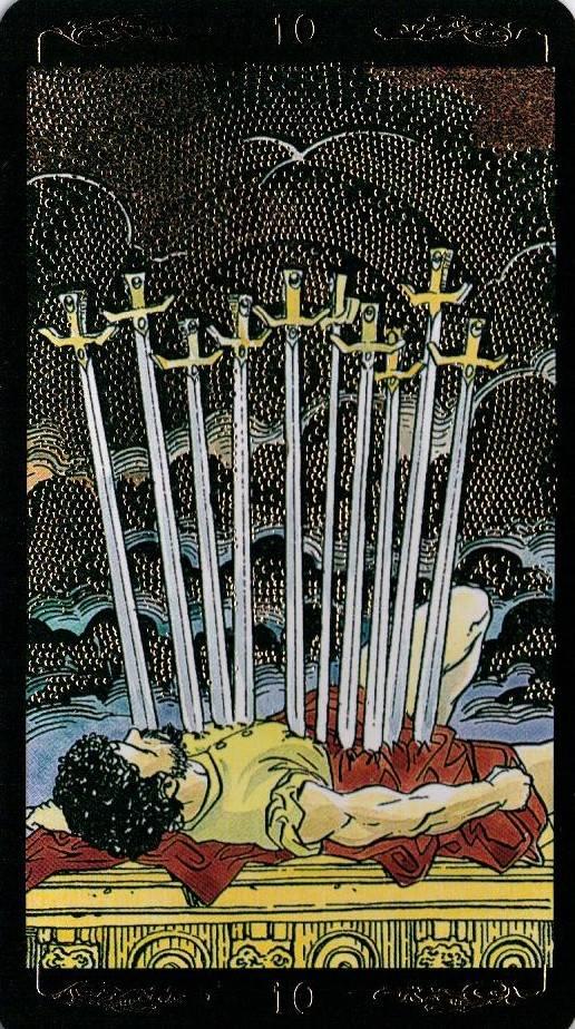 """10 мечей - колода """"универсальное таро уэйта (universal waite tarot)"""""""