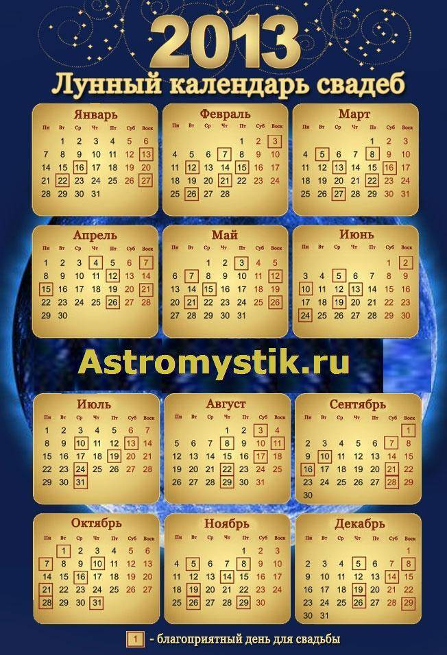 Лунный календарь свадеб на октябрь 2020 года