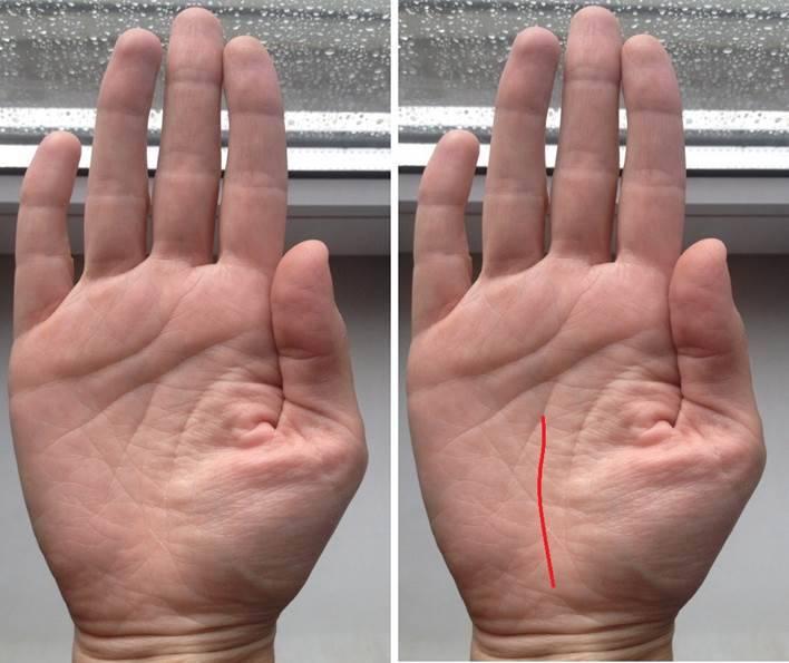 Толкование линии переезда на руке
