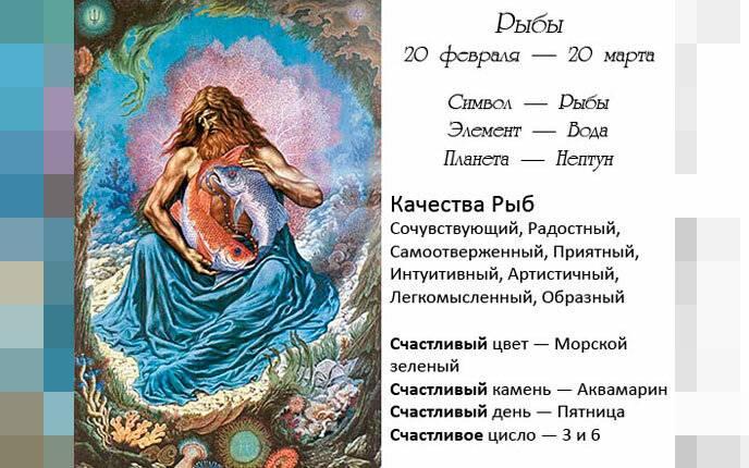 Знак зодиака рыбы 19.02 – 20.03: характер и полная характеристика знака