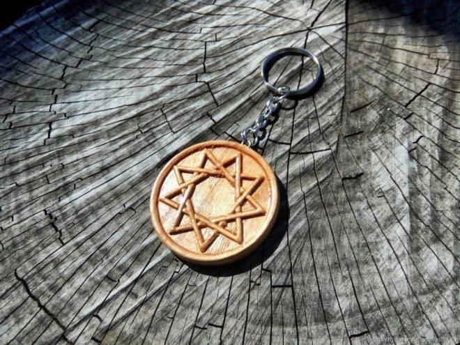 Купить амулет с символом меч в славянской девятиконечной звезде инглии острием вниз