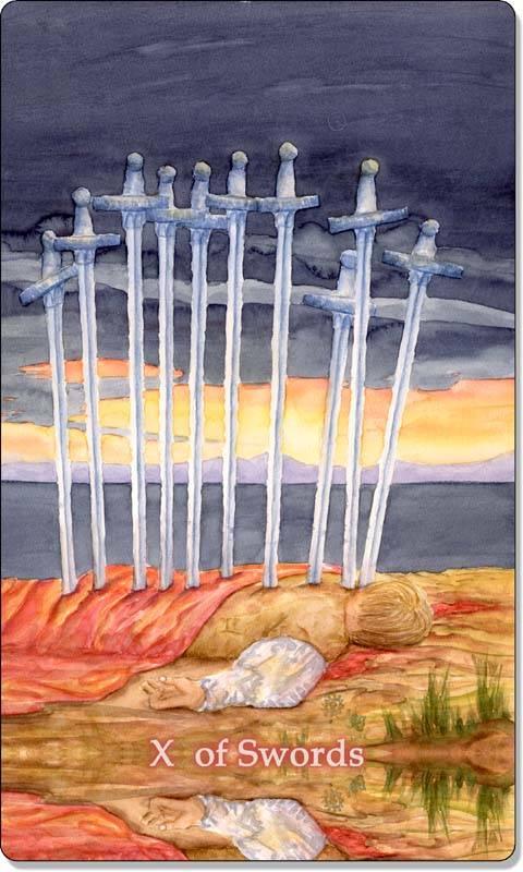 10 (десятка) мечей в таро уэйта: значение и сочетание карты