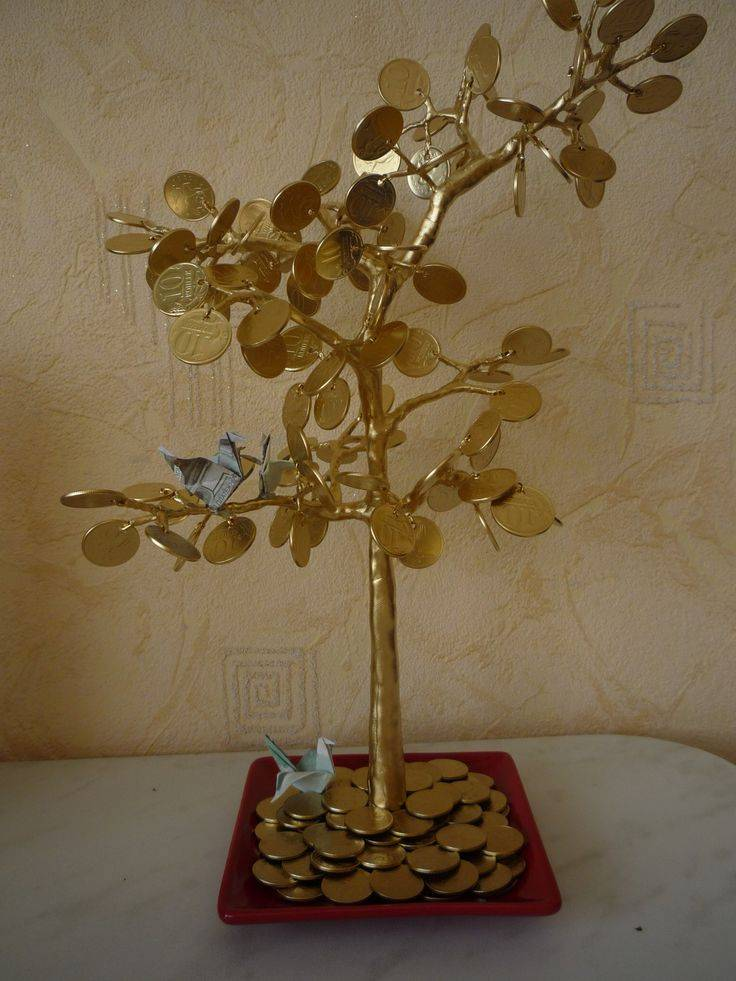 Денежное дерево из монет: виды и этапы изготовления