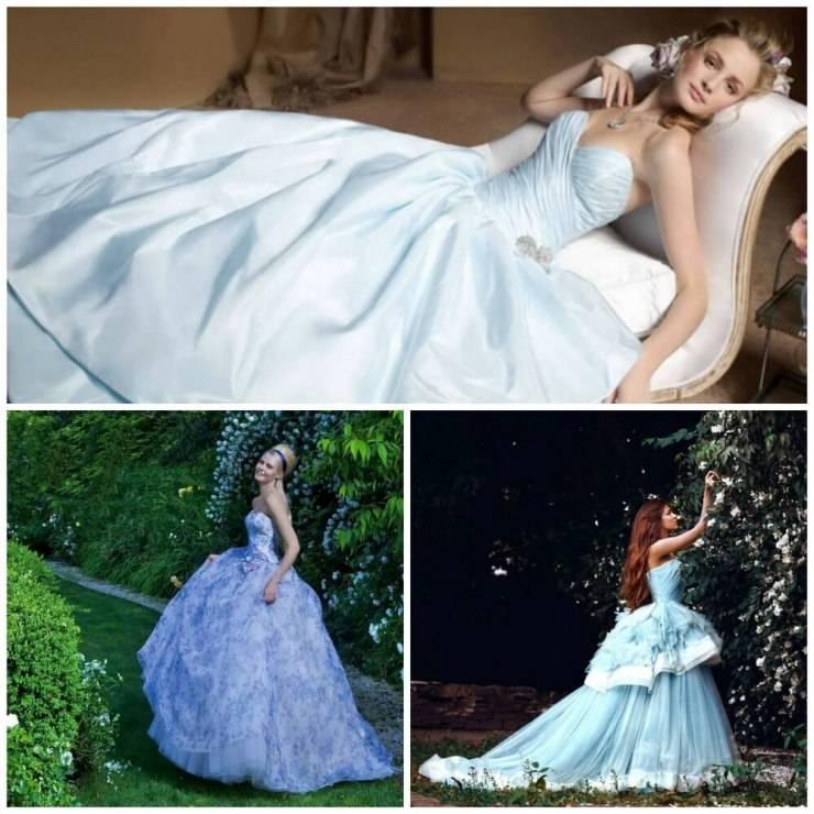 Платье для невесты синего цвета: кому подойдет, сочетание с другими оттенками